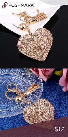 5 ⭐️ rated !! Glitz & Glam Bag/key Charm ✨ Heart Jewelry Keychain Women Key holder Chain Ring Car or bag pendant Charm Bling and Tassle Accessories. new in packaging- No brand listed ASOS Bags Crossbody Bags