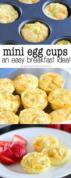 simple and delicious healthy mini egg cups! A quick breakfast recipe you can make ahead of time and devour all week long!Extremely simple and delicious healthy mini egg cups! A quick breakfast recipe you can make ahead of time and devour all week long! Healthy Make Ahead Breakfast, Breakfast For Kids, Breakfast Cups, Diet Breakfast, Breakfast Casserole, Protein Breakfast, Simple Breakfast Recipes, Avacado Breakfast, Cottage Cheese Breakfast