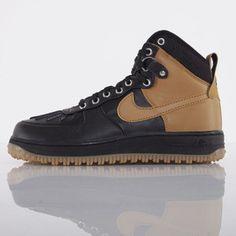 Nike buty Air Force 1 Duckboot black / white - metallic silver - gum light brown (444745-006)