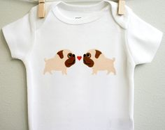 Baby clothes, pugs in love. Long or short sleeve. Your choice of size.. $14.00, via Etsy.