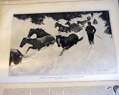 "Harper's Weekly, March 1900 ""Working Snow-Bound Ponies Out of the Mountains"" ~ Remington"