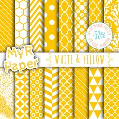 "SALE 50% Yellow Digital Paper: ""White & Yellow"" Digital Paper Pack and Backgrounds with Chevron, Damask, Triangles, Stripes and Polka Dots  50% OFF ON ORDERS OVER 12 $ (OR ... #patterns #design #graphic #digitalpaper #scrapbooking ➡️ http://jto.li/n9Wam"