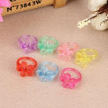 Lovely Candy Color Children Princess Rings Flower Plastic Finger Rings For Kids Girls Fancy Dress Party Favors Gift(China (Mainland))