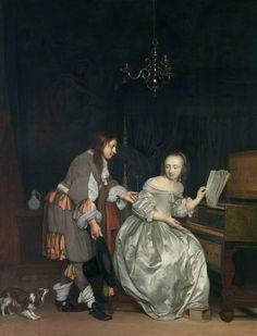 """Interior with a Lady at a Spinet and a Gentleman Offering Her a Glass of Wine. Gabriël Metsu (Dutch, 1629-1667). Oil on canvas. English Heritage, Ranger's House.  He was definitely a storyteller, says Arthur Wheelock, curator of the NG's Metsu exhibit, """"but giving us a beginning, middle and end to the story was not what he was after."""" He wanted you to ponder the painting. """"I think these paintings were huge points of discussion in drawing rooms all through the Netherlands in the 17th…"""