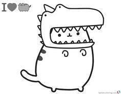 Pusheen Coloring Pages Cute Dinosaur Hat Pusheen Coloring Pages