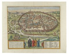 (HOLY LAND.) Braun, Georg; and Hogenberg, Franz. Hierosolyma Urbs Sancta. Double-page engraved view of Jerusalem, 390x505 mm, ample margins, French text on verso; later hand-color in full. A nice example. [Cologne, 1575 or later]