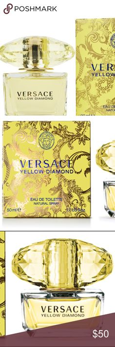 VERSACE Yellow Diamond Perfume Toillette Spray Infinite beauty reflects itself in the transparency of a diamond and radiates all around in beams of crystalline light. Pure as sunlight, a bright, extraordinary yellow light radiates with a fiery intensity and sparkles the way that only a diamond can. An authentic jewel of rare beauty is unveiled in Yellow Diamond, a fresh and vivid floral perfume by Versace1. Like a burst of light, the fragrance gleams and glistens as it opens with notes of…