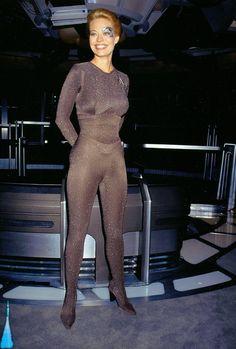 "Star Trek Voyager - Jeri Ryan (Seven of Nine), on set during celebrations of Star Trek Voyager's 100th episode ""Timeless"" 1998."