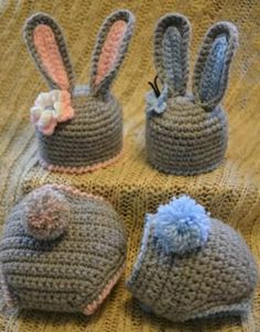 Easter bunny hat and diaper cover for boy and girl, rear view of diaper covers.