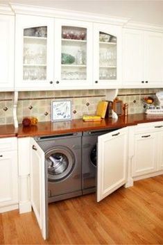 Sometimes there's not enough room for a full blown laundry room, so here are great and useful laundry in kitchen design ideas that you may find interesting. Laundry In Kitchen, Laundry Nook, Laundry Room Storage, Laundry Room Design, Diy Kitchen, Storage Organization, Kitchen Cabinets, Kitchen Decor, Small Laundry