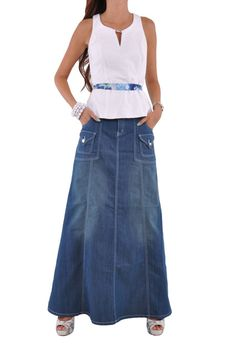 "Skirt details: * floor length 40.5"" * regular fit * stretch mid-weight gray denim * front zipper & buttons closure * four pockets flared style long skirt * fringe hem * 80% cotton, 17% polyester, 3% s"