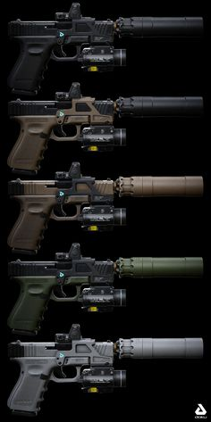 Realtime Glock model with internals and a variety of attachments. Authored at but renders shown using game resolution textures - 2048 depending on attachment size). Military Weapons, Weapons Guns, Guns And Ammo, Glock Guns, Airsoft Gear, Tactical Gear, Armas Ninja, Gun Storage, Custom Guns