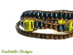 Blue and Brown with a dash of Green Bracelet by CarletelloDesigns, $24.00
