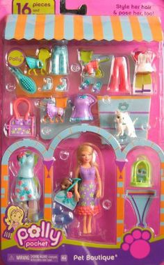 POLLY POCKET PET BOUTIQUE Set 16 Pieces w POLLY DOLL, 3 PETS Dog Cat & Bird & Fashions (2006 Mattel Canada) by Mattel Canada. $48.99