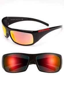 Prada 65mm Wraparound Sunglasses Black