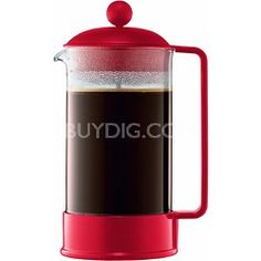 Bodum Brazil 8 Cup French Press Coffee Maker 34 oz Glass Carafe - Red