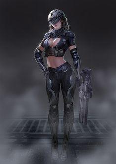 Fantasy Female Warrior, Female Armor, Cyberpunk Girl, Cyberpunk Character, Fantasy Art Women, Fantasy Girl, Female Character Design, Character Art, Sci Fi Armor