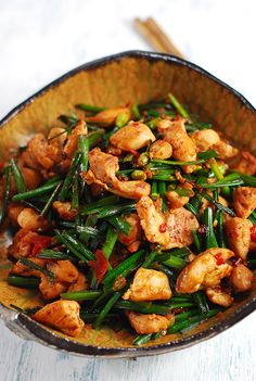 sichuan style spicy chicken and chive flower stirfry
