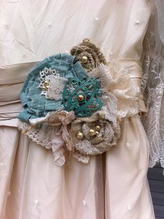 Turquoise Green Ivory/ Burlap and Lace/ Bridal by DolledandDazzled, $20.99