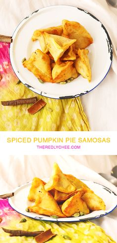 Spiced Pumpkin Pie Samosas - An American classic meets an Indian classic. Sweet Pumpkin pie filling, spiced with cinnamon, cardamom and cloves in a crispy and flaky samosa pastry that's easily made from scratch. And there's no fiddly samosa wrapping! www.theredlychee.com