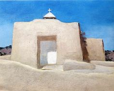 Georgia O'Keeffe is brilliant because she really captures the austere, bone-hardness of the desert. She captures the juxtaposition between the sandy-colored landscape and buildings and the cold hard blue of a desert sky.