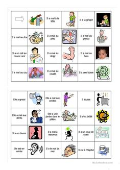 Domino jai mal à French Language Lessons, French Lessons, French Teacher, Teaching French, French Body Parts, French For Beginners, Core French, French Education, French Grammar