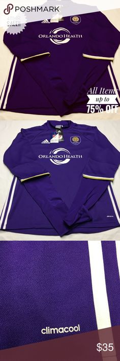 ADIDAS CLIMA COOL L ORLANDO CITY MLS SOCCER JERSEY ADIDAS CLIMA COOL MENS LARGE ORLANDO CITY MLS SOCCER CLUB JERSEY LONG SLEEVE MSRP $80.00 READY TO WEAR BLUE PURPLE, GOLD WHITE TRIM adidas Shirts Tees - Long Sleeve