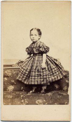 Adorable Girl in Plaid Dress by Cole Roxbury Mass CDV | eBay