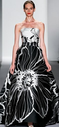 SPRING 2014 READY-TO-WEAR Dennis Basso.  Beautiful black and white sleeveless gown.   Pretty dress!