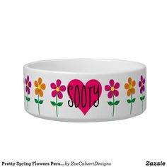 Shop Pretty Spring Flowers Personnalisable Bowl created by ZoeCalvertDesigns. Purple Flowers, Spring Flowers, Orange And Purple, Dog Bowls, Pretty In Pink, Bubbles, Create, Spring Colors
