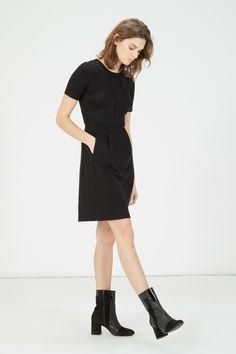 Dresses | Black LACE DETAIL PONTE SHIFT DRESS | Warehouse