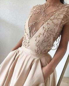 Cheap Prom Dresses 2017 Evening Gowns Sheer Neck Embroidery Bead Pearls Formal Gowns Sweep Length Custom Made Prom Dress - Wedding World Dresses Elegant, Pretty Prom Dresses, Prom Dresses 2017, Cheap Prom Dresses, Prom Party Dresses, Trendy Dresses, Dress Party, Wedding Dresses, Custom Made Prom Dress