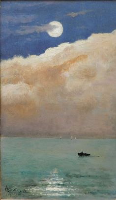 Alfred Stevens (1823 -1906)    Moonlit seascape at Cap Martin  **LOVE the color of this water...