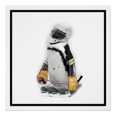 SOLD ! Little #Penguin Wearing #Hockey Gear Print SHIPPING TO West Point, NY