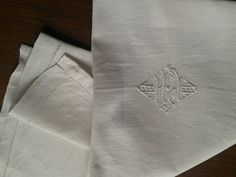Antique French 1800's Handmade Tea Towel - Dish Wrap - Monogrammed HJ Embroidered - French Linens-  White Kitchen Towel