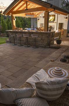 Outdoor Fireplace Designs, Outdoor Patio Designs, Outdoor Kitchen Patio, Outdoor Kitchen Design, Small Backyard Pools, Backyard Landscaping, Good Neighbor Fence, Backyard Pavilion, Outdoor Living Rooms