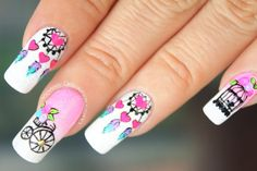 decoracion-atrapasuenos-vintage2 Indian Nails, Feather Nail Art, Mandala Nails, Manicure And Pedicure, Pretty Nails, Eye Makeup, Nail Designs, Beauty, Nail Ideas