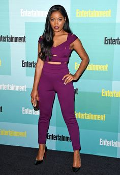 Keke Palmer flexes her fashionista skills in a Georges Chakra Fall 2015 plum colored jumpsuit at Entertainment Weekly's Annual Comic-Con Party. Keke Palmer, Celebrity Fashion Looks, Celebrity Style, Celebrities Fashion, Mr T, Eggplant Color, Hollywood, Celebrity Red Carpet, Night Looks