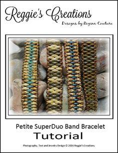 Spring Sale - 15 % Off - Tutorial ~ Petite SuperDuo Band Bracelet by Reggie's Creations ~ Beaded Bracelet Pattern Bead Loom Bracelets, Beaded Bracelet Patterns, Beaded Wrap Bracelets, Beading Patterns, Beaded Jewelry, Clay Jewelry, Jewelry Crafts, Wrap Bracelet Tutorial, Super Duo Beads