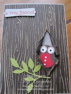 Stampin Up UK Demonstrator UK Pegcraftalot Order Stampin Up HERE: Woodgrain and the Owl Builder Punch by peg Coombes This is too cute Tarjetas Stampin Up, Stampin Up Cards, Scrapbooking, Scrapbook Cards, Reno Animal, Envelopes, Owl Punch Cards, Owl Card, Embossed Cards