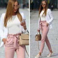 Long Pants with Bow Tie Waist Belt High Fashion Elegant Pink Women - Pants - Bottoms - Business kleidung damen - Damenmode Casual Work Outfits, Professional Outfits, Mode Outfits, Office Outfits, Work Attire, Work Casual, Classy Outfits, Trendy Outfits, Office Uniform