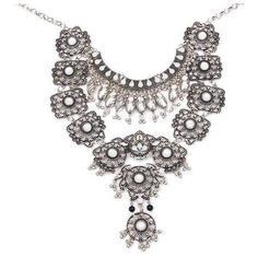 Vintage Silver Long Boho Bib Turkish Necklace (21 BAM) ❤ liked on Polyvore featuring jewelry, necklaces, vintage bib necklace, bohemian necklaces, bib statement necklace, silver necklace and vintage jewelry