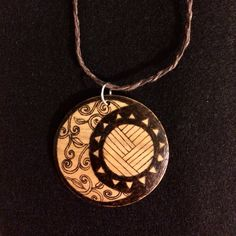 Tribal necklace #pyrography #moon #star #sun #tribal #woodburning #woodjewelry #jewelry