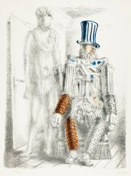 Giorgio de Chirico Italian, 1888-1978 The Return of the Prodigal Son, Plate one from Metamorposis, 1929 Lithograph in blue, orange, and black on white wove paper