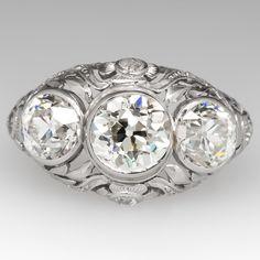 Antique Edwardian Era Engagement Ring Platinum Circa 1910 Three Stone Old Euros