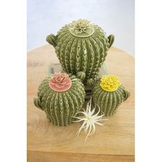 Set of 3 cactus canisters with flower tops to add color and flair to your organizing needs. Cactus used in your home decor is on trend and chic today. Home Decor Accessories, Decorative Accessories, Kitchen Accessories, Home Decor Kitchen, Diy Home Decor, Decorating Kitchen, Rental Kitchen, Kitchen Ideas, Kitchen Canister Sets