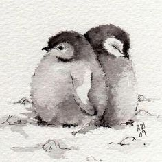 2 Little Penguin Chicks Original ink/watercolour by wildsunartYou can find illustration art and more on our Little Penguin Chicks Original ink/watercolour by wildsunart Watercolor Sketch, Watercolor Bird, Simple Watercolor, Watercolour Pencil Art, Pastel Watercolor, Watercolor Paintings Of Animals, Drawing Animals, Easy Drawings Of Animals, Drawing Birds Easy