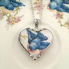 Sweet little bluebird broken china jewelry by dishfunctionldesigns
