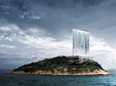 Solar City Tower by RAFAA turns into an urban waterfall to generate energy.