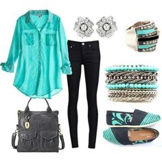 Mint/black look